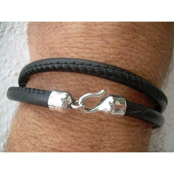 Stitched Nappa Leather Double Wrap Bracelet with Hook Clasp