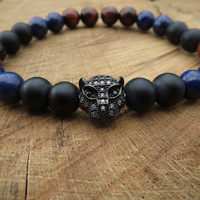 Mens Gemstones Bracelet, Gunmetal Cubic Zirconia Pave Leopard Bracelet, Lapis Lazuli Red Tiger Eye Matte Onyx Protection Bracelet , For Men