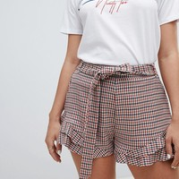 River Island check frill shorts at asos.com