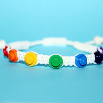 Rainbow Pride Bracelet made from LEGO (r) Pieces and Cotton Cord
