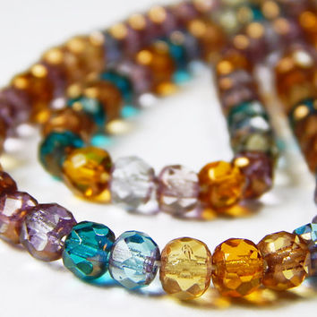 40 Pcs - 5x3mm Fire Polished Czech Glass Rondelle Beads - Multicolor Mix - Rondelle - Jewelry Supplies