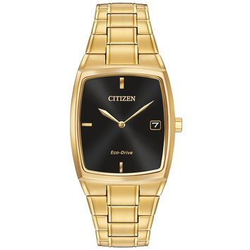Men's Citizen Eco-Drive Gold-Tone Black Dial Watch