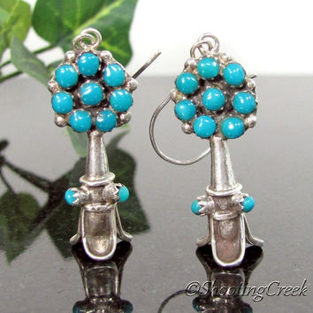 Vintage NAVAJO Sterling Turquoise SQUASH BLOSSOM Earrings Old Pawn Antique