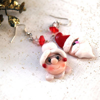 Santa and his Wife Christmas Dangle Earrings, Polymer Clay