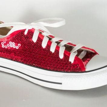 VONR3I Ruby Red Sequin Converse All Star