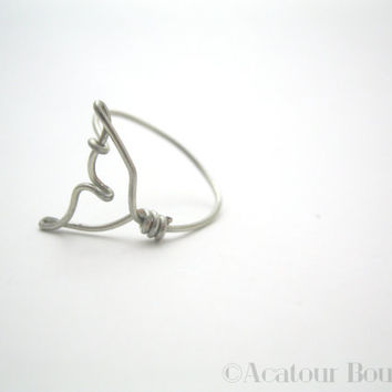 Whale Tale Wire Ring, Mermaid Tail Ring