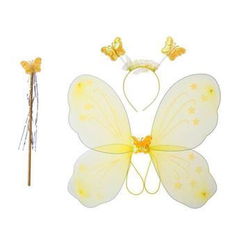 3pcs Girl's Butterfly Costume Set Butterfly Wings with Butterfly Headband and Fairy Magic Wand Kids Performance Party Costume