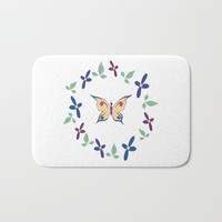 Floral Butterfly Bath Mat by sm0w