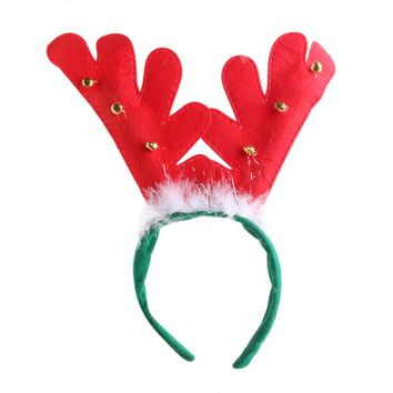 Christmas Deer Reindeer Antlers Headband Hairband with Bells & Feather Decor