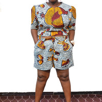 Tempte Kuku - Shorts and Crop Top Set - Plus Size African Print Shorts and Top