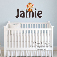Monkey Custom Name Printed Fabric Repositionable Wall Decal
