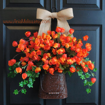 fall wreaths autumn wreaths fall front door wreaths Chinese lantern outdoor Thanksgiving wreath decor orange Halloween wreaths