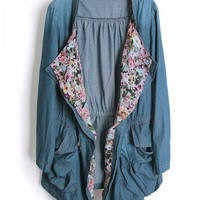 Floral Denim Laple Trench Coat$52.00