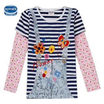 Girls clothes t shirts for girls Nova kids clothing cotton embroidery long sleeve t shirt for girls anna tops bobo choses F5739