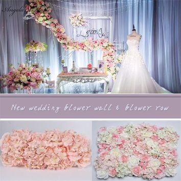 10PCS original design wedding flower wall and row silk artificial rose hydrangea peony mix flowers background Hotel decoration