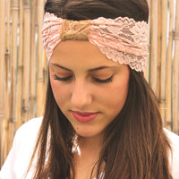 Soft pink Lace Headband, Accessory, Elastic Headband, Women Hair Accessories, Hair wrap, Stretchy Head Band, Turban Head Wrap