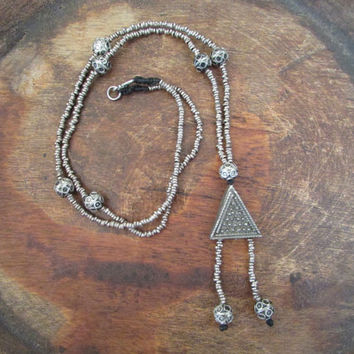 Long Morrocan Beaded Necklace Pendant, Dainty Beadwork African Delicate Boho Jewelry