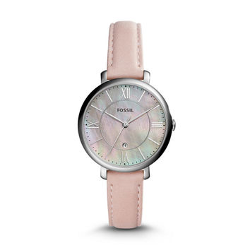 Jacqueline Three-Hand Date Blush Leather Watch