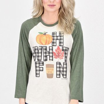 Oh What Fun Fall Themed Raglan {Oat/Moss}