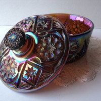 Carnival Glass Dish by Imperial Glass Lidded Candy or Butter Dish Irridescent Colorful Dining Ware