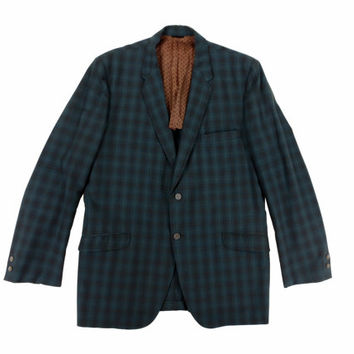Vintage Plaid Sport Coat in Blue and Brown- Blazer Jacket 1960s Preppy Ivy League Menswear - Men's Size 43 Large Lrg L