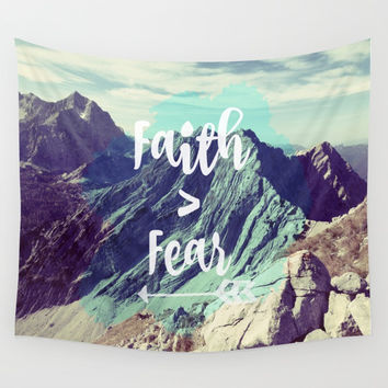 Faith > Fear Wall Tapestry by Quote Life Shop