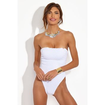 Malibu Lace Up One Piece - White