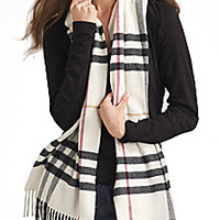 Burberry - Ivory Giant Check Cashmere Scarf - Saks Fifth Avenue Mobile