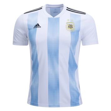 KUYOU Argentina 2018 World Cup Home Men Soccer Jersey Personalized Name and Number