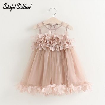 Colorful Childhood Baby Girls Dress Summer girl petal vest dress toddler Infant Clothes kids clothing 12m-5y