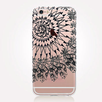 Transparent Tribal Sun Phone Case - Transparent Case - Clear Case - Transparent iPhone 6 - Gel Case - Soft TPU Case - Samsung S7