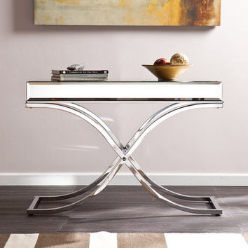 Ava Mirrored Console Table - Chrome