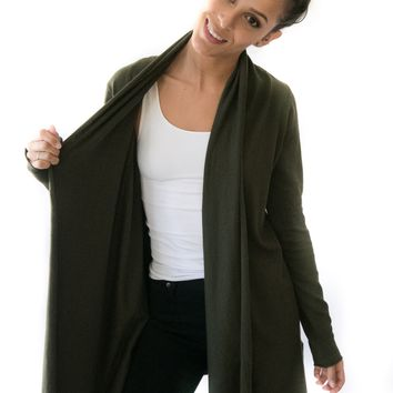 Chilly Nights Cardigan In Olive
