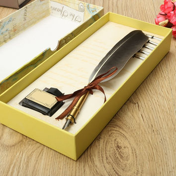 New Arrival Antique Quill Feather Dip Pen Writing Ink Set Stationery Gift Box with 5 Nib Wedding Gift Quill Pen Fountain Pen