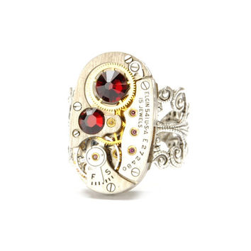Steampunk Ring JANUARY RED GARNET Steam Punk Jewelry Vintage Oval Watch Ring Sterling Silver Steampunk Jewelry By VictorianCuriosities