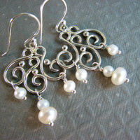Freshwater Pearl Chandelier Earrings With Handcrafted Swirl Frames - Sterling Silver
