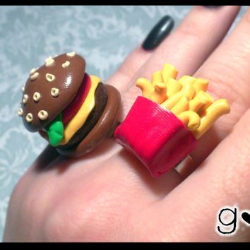 SUPER SALE Burger Ring - Kawaii Jewelry - Miniature Ring- Cute Ring- Food Miniature - Cheap Gift - Sale Jewelry