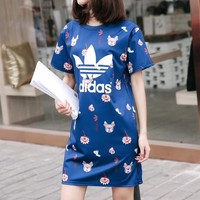 """Adidas"" Women Loose Casual Sweet Cute Letter Logo Print Short Sleeve T-shirt Mini Dress"