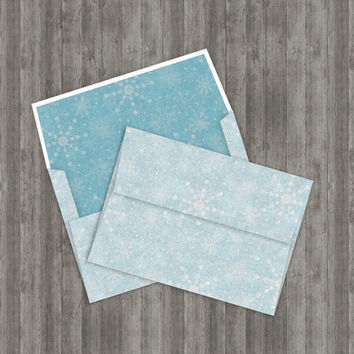 Printable Snowflakes Envelope, DIY 5x7 template for Christmas cards, includes instructions, 2 liners & 2 digital papers, Buy 2 Get 1 Free