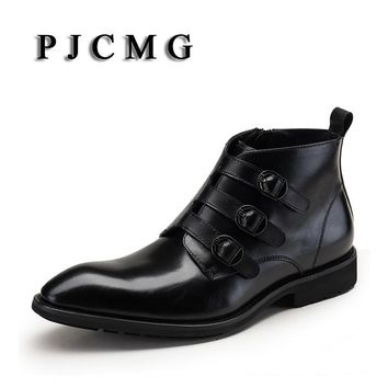PJCMG New Fashion Men's Pointed Toe Genuine Leather Buckle Strap Business Formal Brogue Wedding Office Ankle Footwear Boots