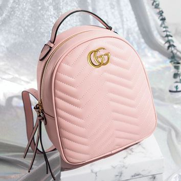 GUCCI Popular Women Casual Daypack School Bag Pure Color Zipper Leather Backpack Pink I12101-2
