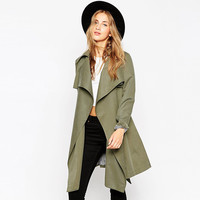 Army Green Shaped Windbreaker Trench Coat for Fall and Winter [9108982279]