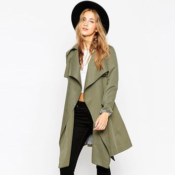 Army Green Shaped Windbreaker Trench Coat for Fall and Winter [9022452420]