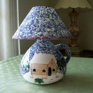 Vintage Ceramic Candle Holder with Light Shade Done in a Winter Scene