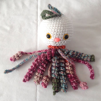 Crochet Baby Rattle crochet jellyfish handmade baby toy crochet fish crochet toy