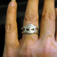 Tree of life ring, silver vintage, ring size 7