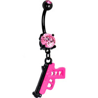 Pink Gem Black and Hot Pink Gun Dangle Belly Ring | Body Candy Body Jewelry