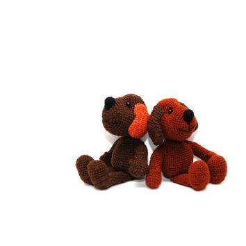 crocheted dog, brown or rust dog or puppy, pocket little animal, amigurumi tiny pet, dog stufflings
