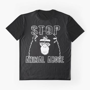 'Stop Animal Abuse - Chimpanzee ' Graphic T-Shirt by ValentinaHramov