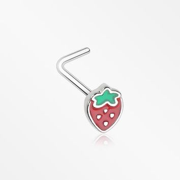 Adorable Strawberry L-Shaped Nose Ring